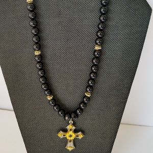 Cross Pendant Necklace and Black/Gold Earrings